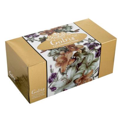 تصویر دستمال کاغذی گلدار طلایی سه لایه 100 برگ گلریز