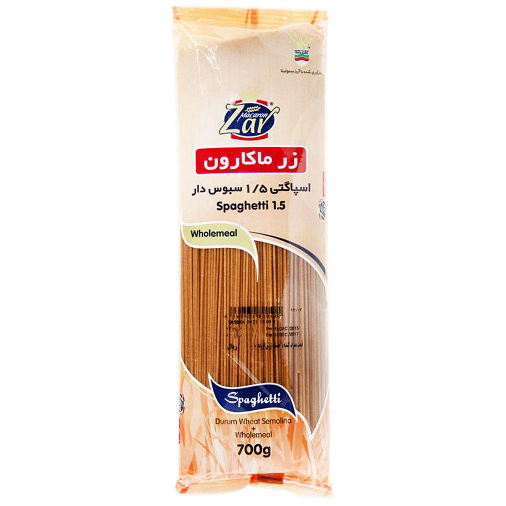 تصویر زر ماکارون اسپاگتی 1/5 سبوس دار 700 گرمی