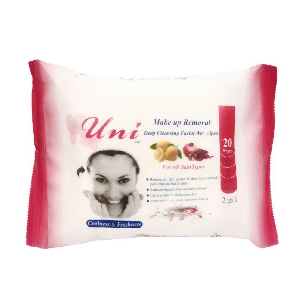 یونی دستمال مرطوب پاک کننده آرایش آنتی اکسیدان 20 عددی