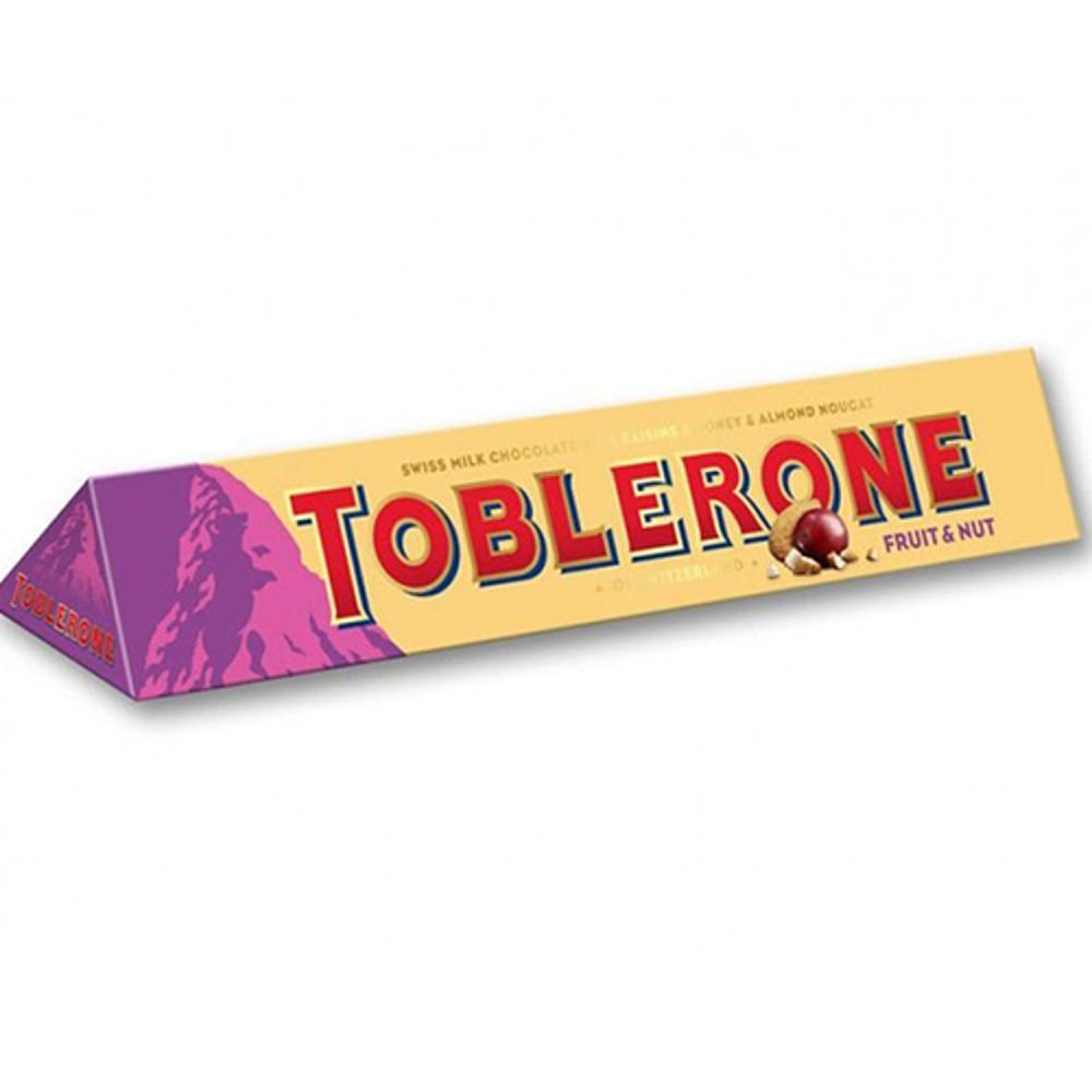 تصویر تابلرون شکلات شیری با کشمش و بادام 100 گرمی